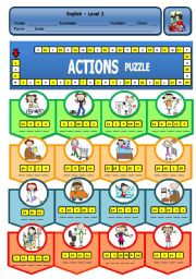 English Worksheet: ACTIONS PUZZLE