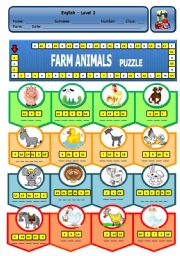 English Worksheets: FARM ANIMALS PUZZLE