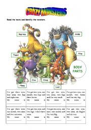 English Worksheet: Crazy monsters
