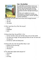 English Worksheet: Questions - Test : The Gruffalo