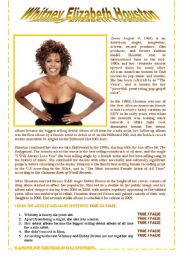 English Worksheets: WHITNEY HOUSTON - comprehensive reading
