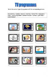English Worksheet: TV programmes