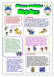 English Worksheet: Fun with RIDDLES!!!
