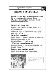 English Worksheet: Reading: Life of a rugby star