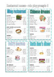 English Worksheet: CONVERSATION CARDS - restaurant menu 5