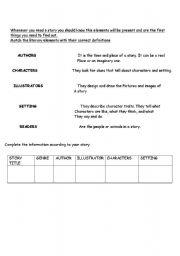 English Worksheets: literary elements