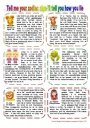 English Worksheet: TELL ME YOUR SIGN, I´LL TELL YOU HOW YOU LIE (1)