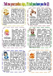 English Worksheet: TELL ME YOUR SIGN, I´LL TELL YOU HOW YOU LIE (2)