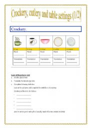 Crockery, cutlery, table settings part 1 (of 2) (this part 3 pages)