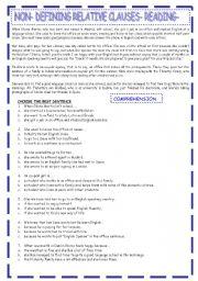 English Worksheet: NON-DEFINING RELATIVE CLAUSES