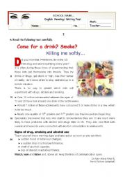 English Worksheet: Come for a drink? Smoke?  - Reading + Writing TEST for Upper Intermediate students