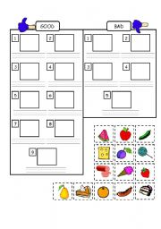 English Worksheets: Very Hungry Caterpillar - Food categories - Good or Bad
