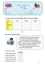 English Worksheets: Test about pets, jobs, have got...