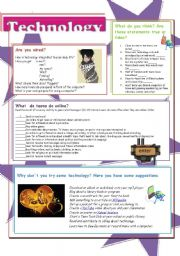 English Worksheet: Technology and teenagers