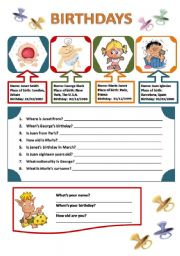 English Worksheet: BIRTHDAYS AND PERSONAL INFORMATION