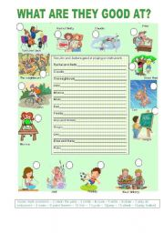 English Worksheets: WHAT ARE THEY GOOD AT?
