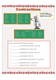 English worksheet: Fill in the  blank using contractions