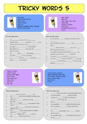 English Worksheets: Tricky Words 5