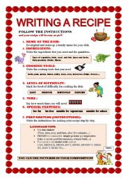English Worksheet: WRITING A RECIPE WORKSHEET