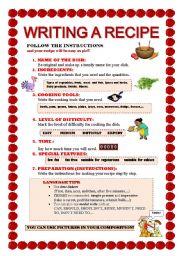 English Worksheet: WRITING A RECIPE WORKSHEET