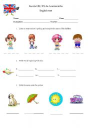 English Worksheet: 3rd and 4th grade test