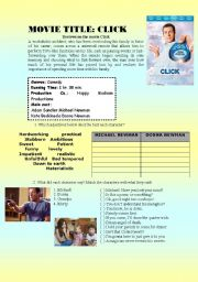 English Worksheets: movie activity about the movie click