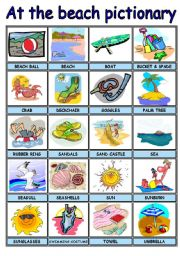 English Worksheet: SUMMER / AT THE BEACH PICTURE DICTIONARY