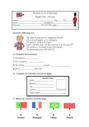 English Worksheet: Test 6th grade (Portugal) NEE