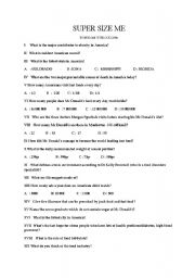 SUPER SIZE ME - ESL worksheet by sardine
