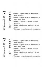 English Worksheets: Editing Checklist