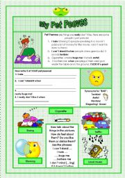 English Worksheets: My Pet Peeves! (Dislikes)