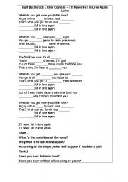 English worksheet: future tense song