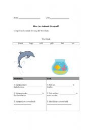 English Worksheet: Whales/dolphins vs. fish
