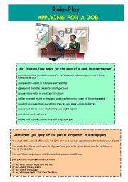 English Worksheet: Role-Play. Applying for a Job.