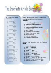 English Worksheet:  Indefinite article exercises
