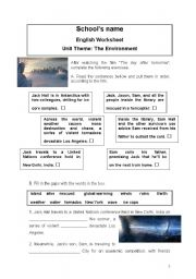English Worksheets: The day after tomorrow - vocabulary exercises