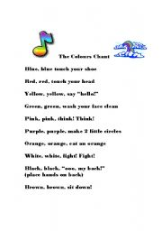 English Worksheet: Colours Chant