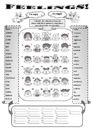English Worksheet: FEELINGS! - vocabulary set for intermediate and upper-intermediate students (2 pages +keys)different vocabulary activities