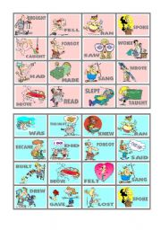 BINGO OF IRREGULAR VERBS (3 of 9)