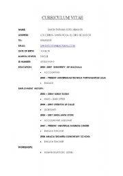 English Worksheet: resume