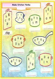 English Worksheet: Make Kitchen Verbs