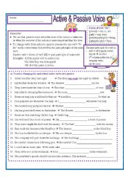 English Worksheets: Active and Passive Practice