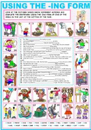 English Worksheet: USING THE -ING FORM