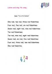 English Worksheet: valentine´ song