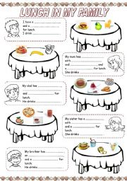 English Worksheet: MEALS IN MY FAMILY (2) - LUNCH