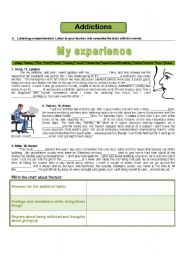 English Worksheet: Addictions - my experience