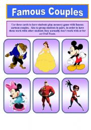 English Worksheets: Famous Cartoon Couples (1 of 2)    14 Cards.