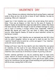 English Worksheets: VALENTINE´S DAY HISTORY