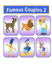 English Worksheet: Famous Cartoon Couples (2 of 2)   20 Cards.