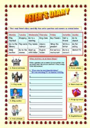 English Worksheets: Peter�s Diary